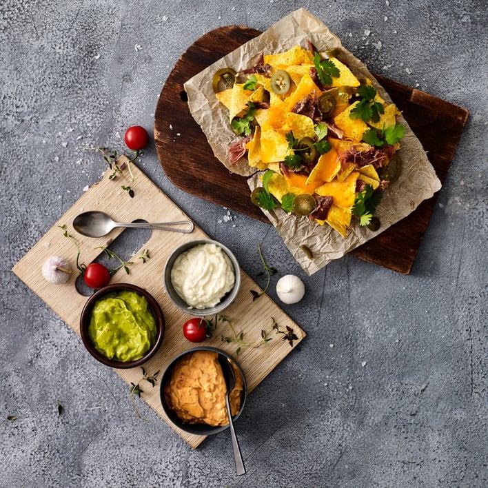 Duck nachos snacks Euro Poultry Top Table confit de canard