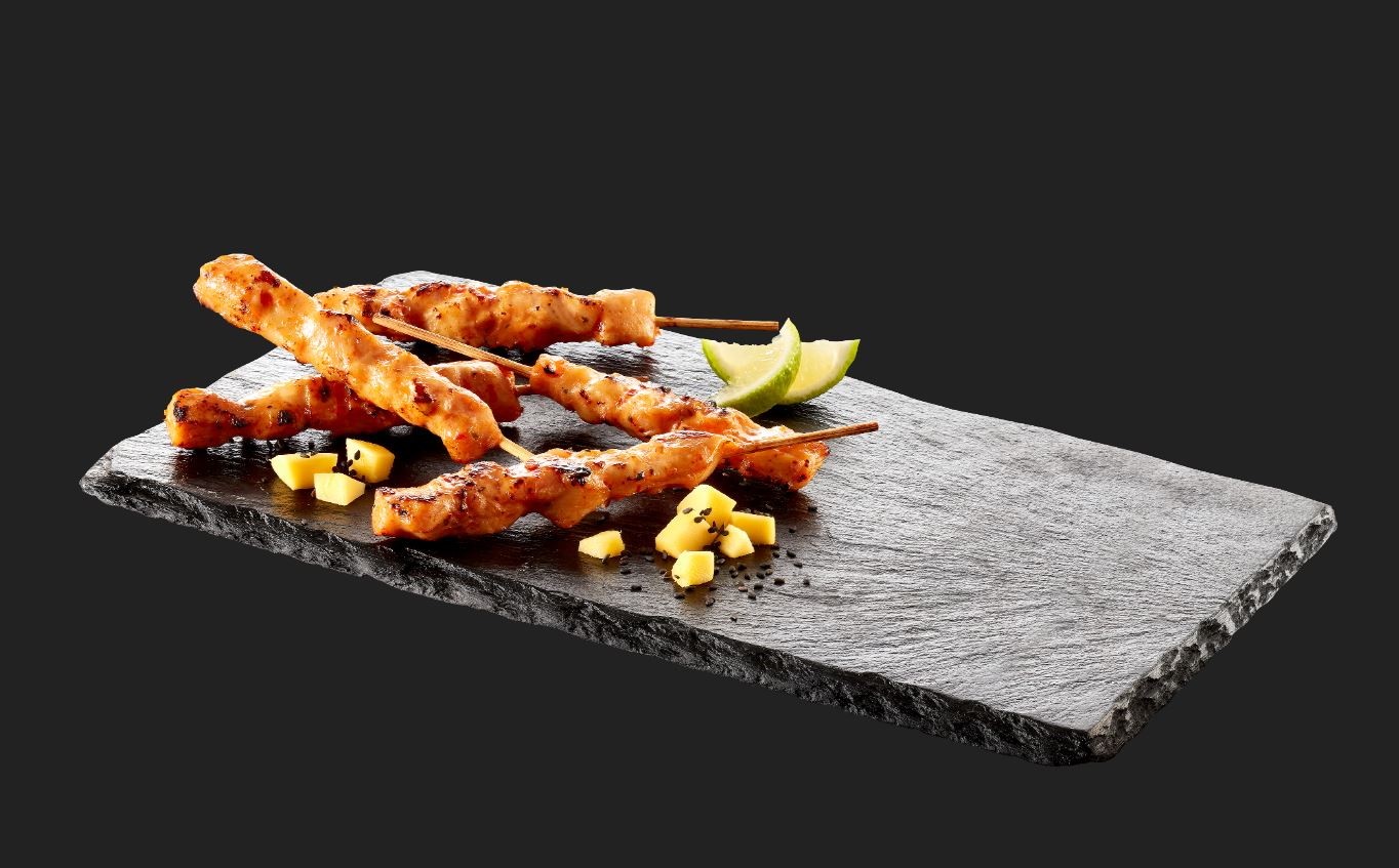 Yakitori mango sweet chili , Euro Poultry chicken skewers box plate
