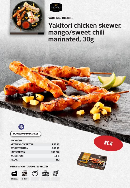 Yakitori mango sweet chili , Euro Poultry chicken skewers